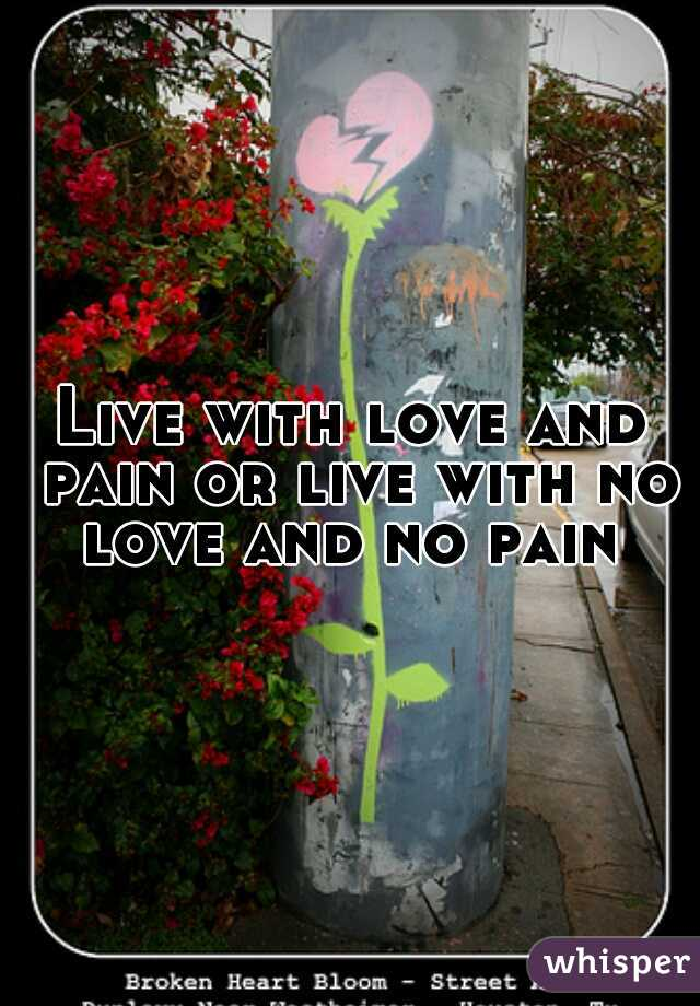 Live with love and pain or live with no love and no pain