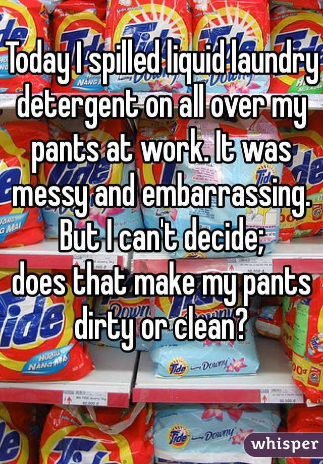 Today I spilled liquid laundry detergent on all over my pants at work. It was messy and embarrassing. But I can't decide;  does that make my pants dirty or clean?