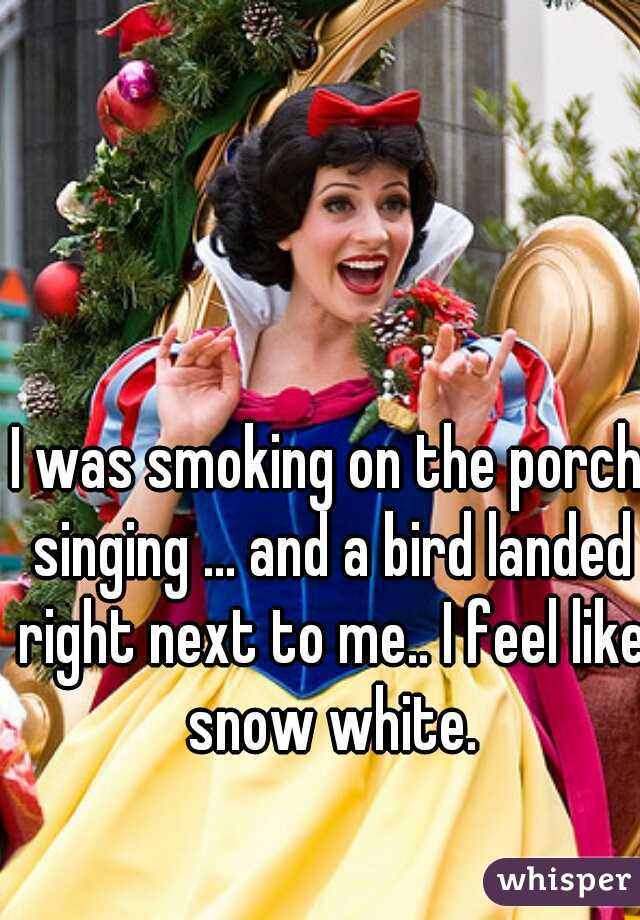 I was smoking on the porch singing ... and a bird landed right next to me.. I feel like snow white.
