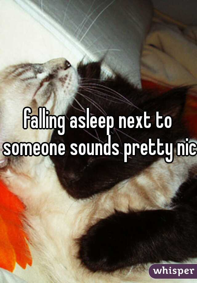 falling asleep next to someone sounds pretty nice