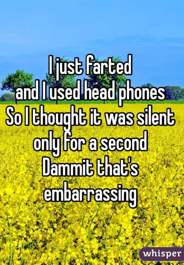 I just farted  and I used head phones  So I thought it was silent only for a second  Dammit that's embarrassing