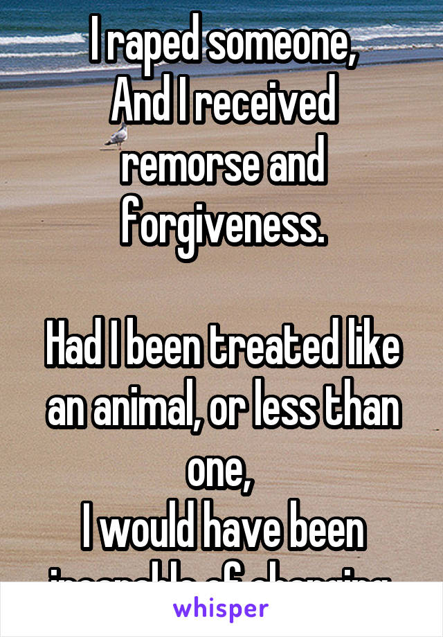 I raped someone, And I received remorse and forgiveness.  Had I been treated like an animal, or less than one,  I would have been incapable of changing.