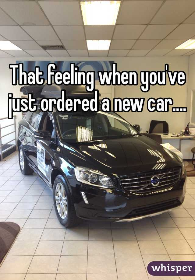 That feeling when you've just ordered a new car....