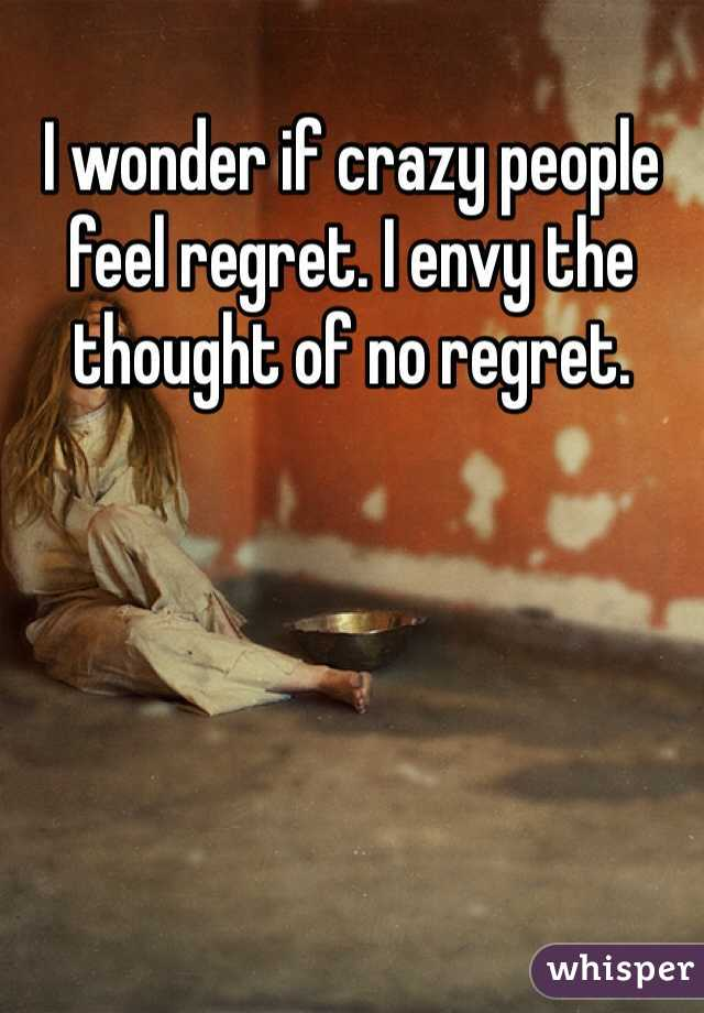 I wonder if crazy people feel regret. I envy the thought of no regret.