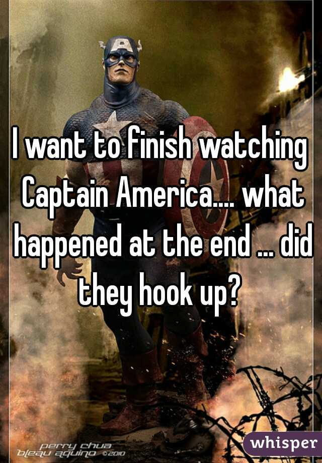 I want to finish watching Captain America.... what happened at the end ... did they hook up?
