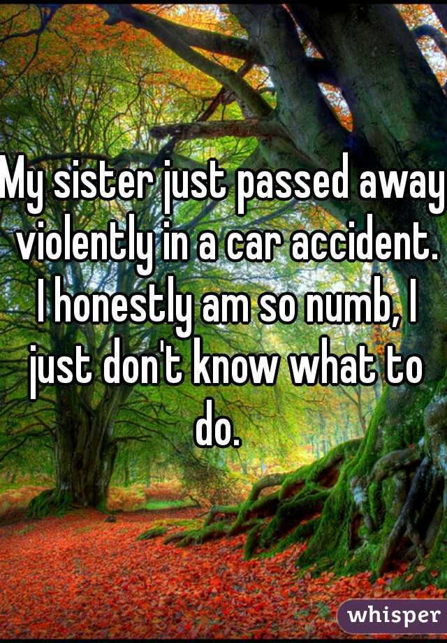 My sister just passed away violently in a car accident. I honestly am so numb, I just don't know what to do.