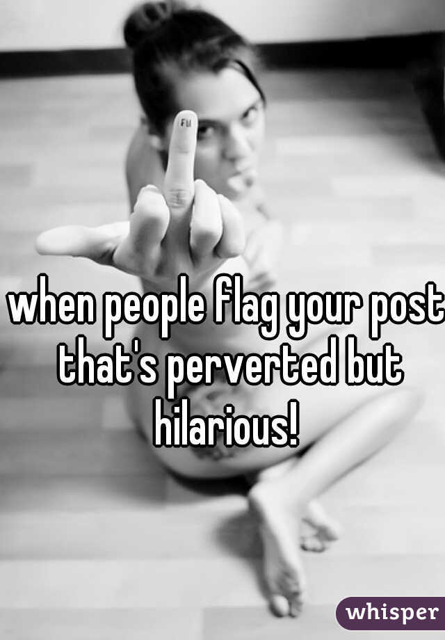 when people flag your post that's perverted but hilarious!