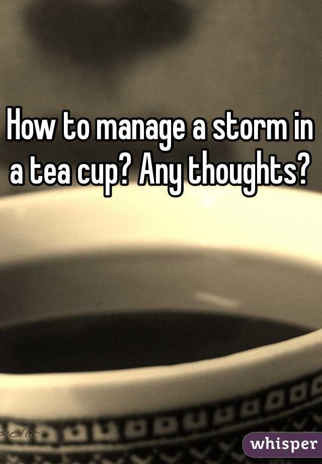 How to manage a storm in a tea cup? Any thoughts?
