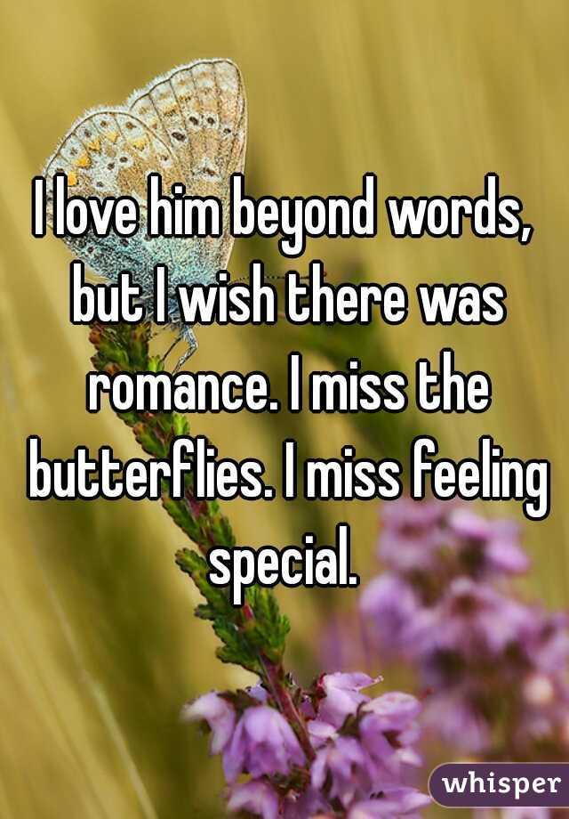 I love him beyond words, but I wish there was romance. I miss the butterflies. I miss feeling special.