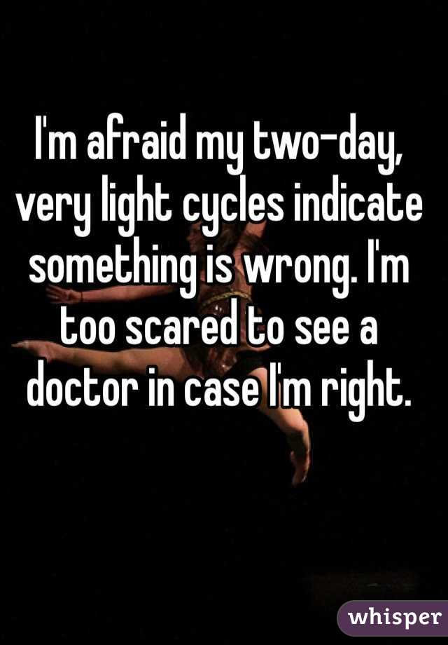 I'm afraid my two-day, very light cycles indicate something is wrong. I'm too scared to see a doctor in case I'm right.