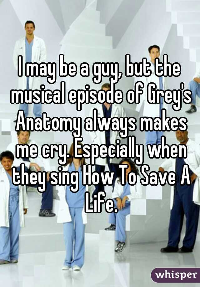 I may be a guy, but the musical episode of Grey's Anatomy always makes me cry. Especially when they sing How To Save A Life.