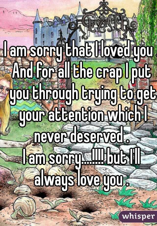 I am sorry that I loved you . And for all the crap I put you through trying to get your attention which I never deserved .  I am sorry....!!!! but I'll always love you .