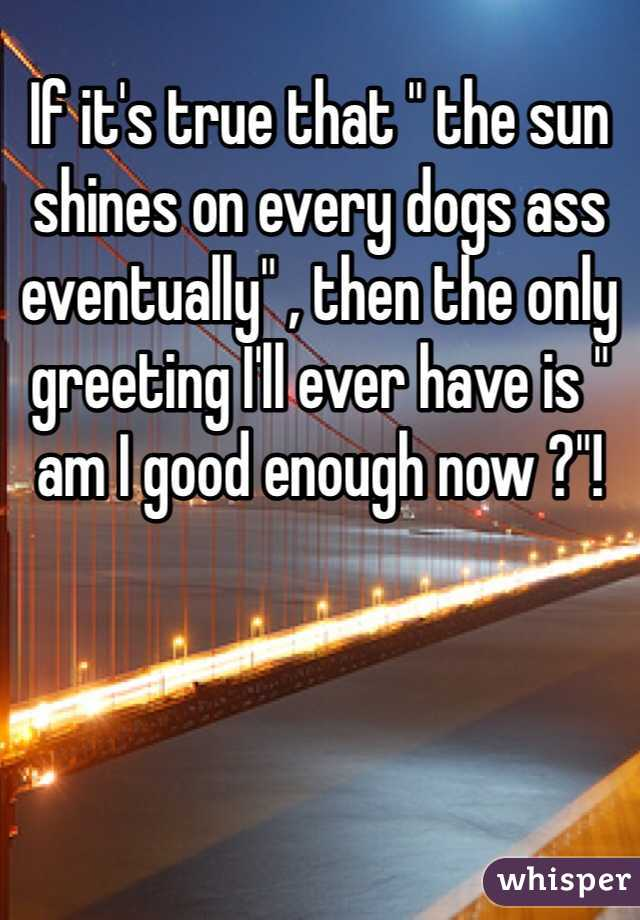 "If it's true that "" the sun shines on every dogs ass eventually"" , then the only greeting I'll ever have is "" am I good enough now ?""!"