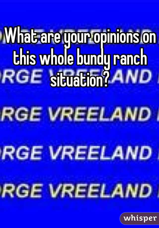 What are your opinions on this whole bundy ranch situation?