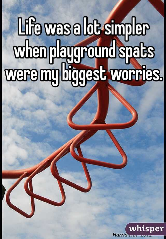 Life was a lot simpler when playground spats were my biggest worries.