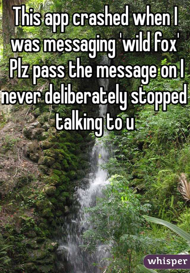 This app crashed when I was messaging 'wild fox'   Plz pass the message on I never deliberately stopped talking to u
