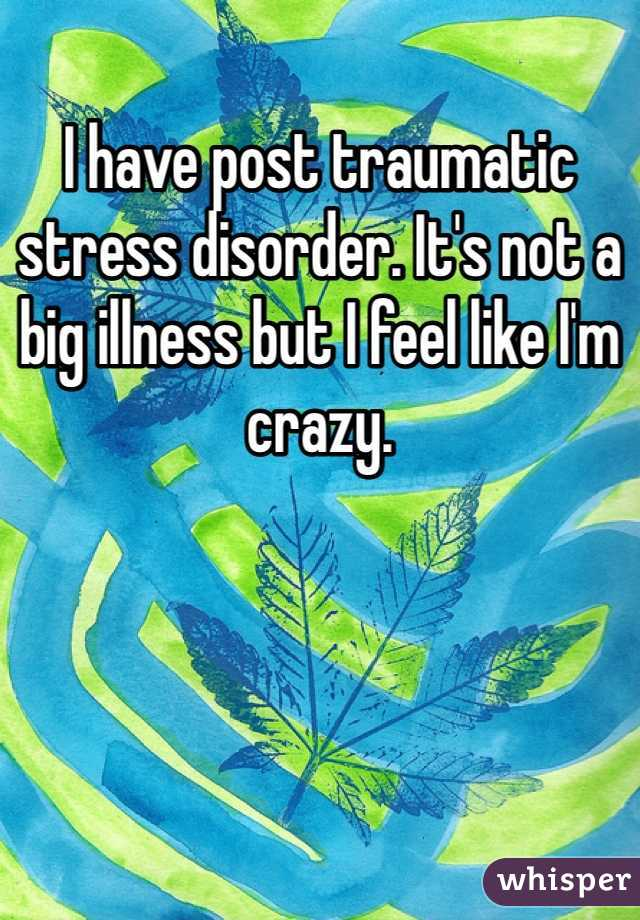 I have post traumatic stress disorder. It's not a big illness but I feel like I'm crazy.