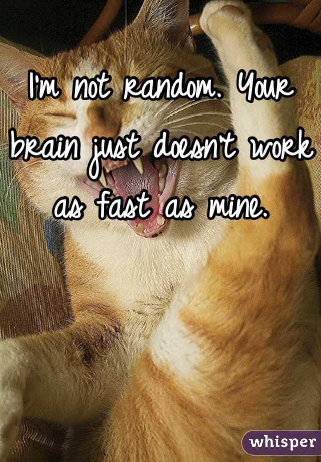 I'm not random. Your brain just doesn't work as fast as mine.
