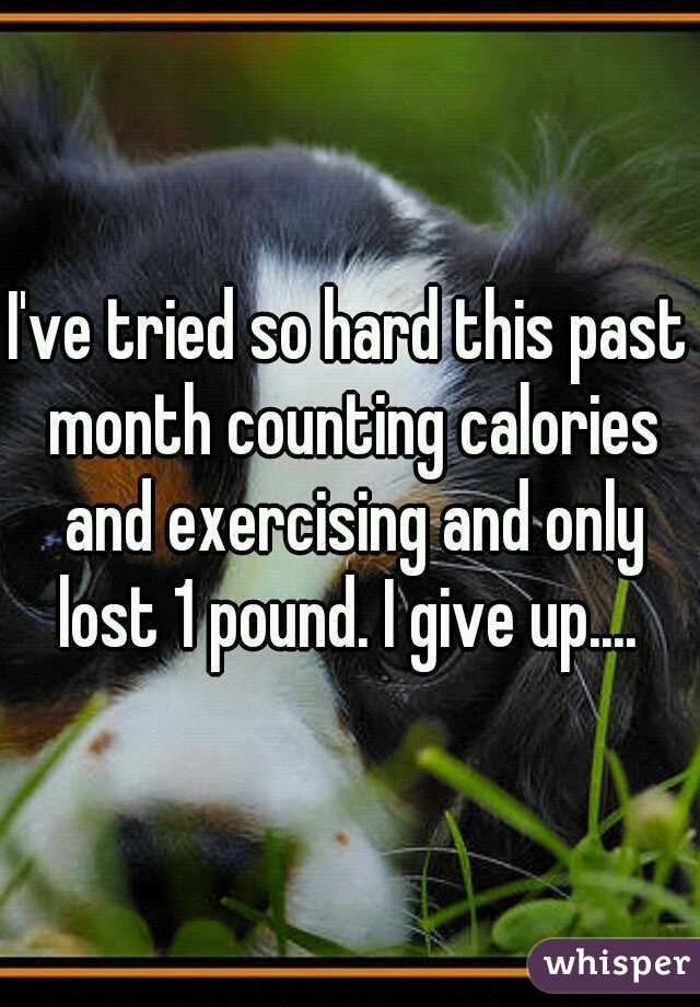I've tried so hard this past month counting calories and exercising and only lost 1 pound. I give up....