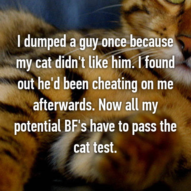 I dumped a guy once because my cat didn't like him. I found out he'd been cheating on me afterwards. Now all my potential BF's have to pass the cat test.