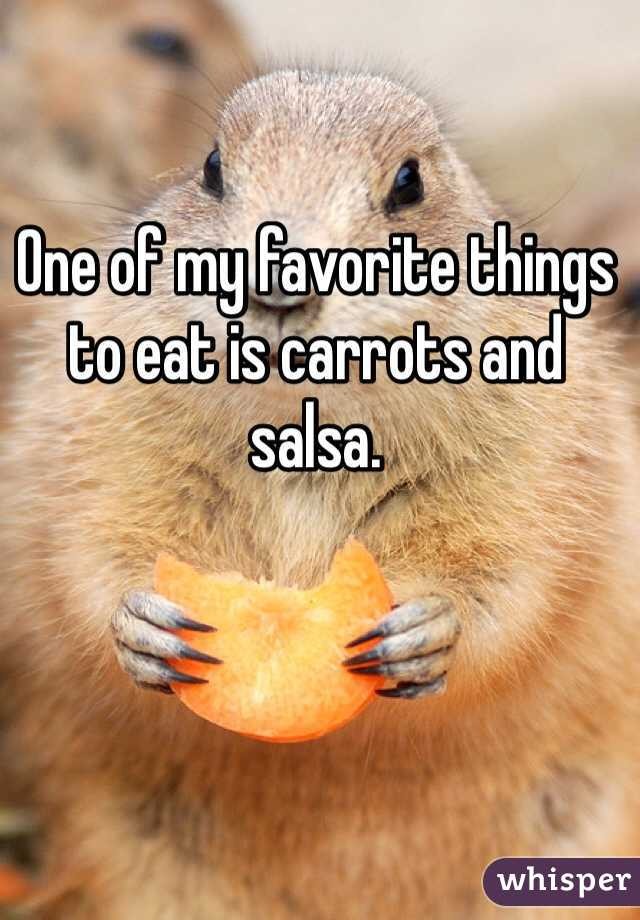 One of my favorite things to eat is carrots and salsa.
