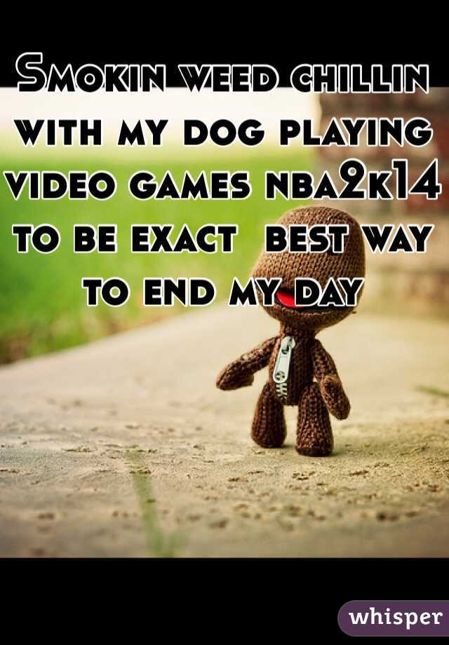 Smokin weed chillin with my dog playing video games nba2k14 to be exact  best way to end my day