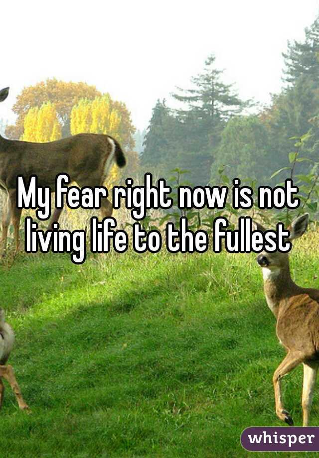 My fear right now is not living life to the fullest