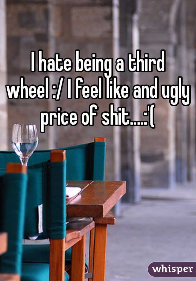 I hate being a third wheel :/ I feel like and ugly price of shit....:'(