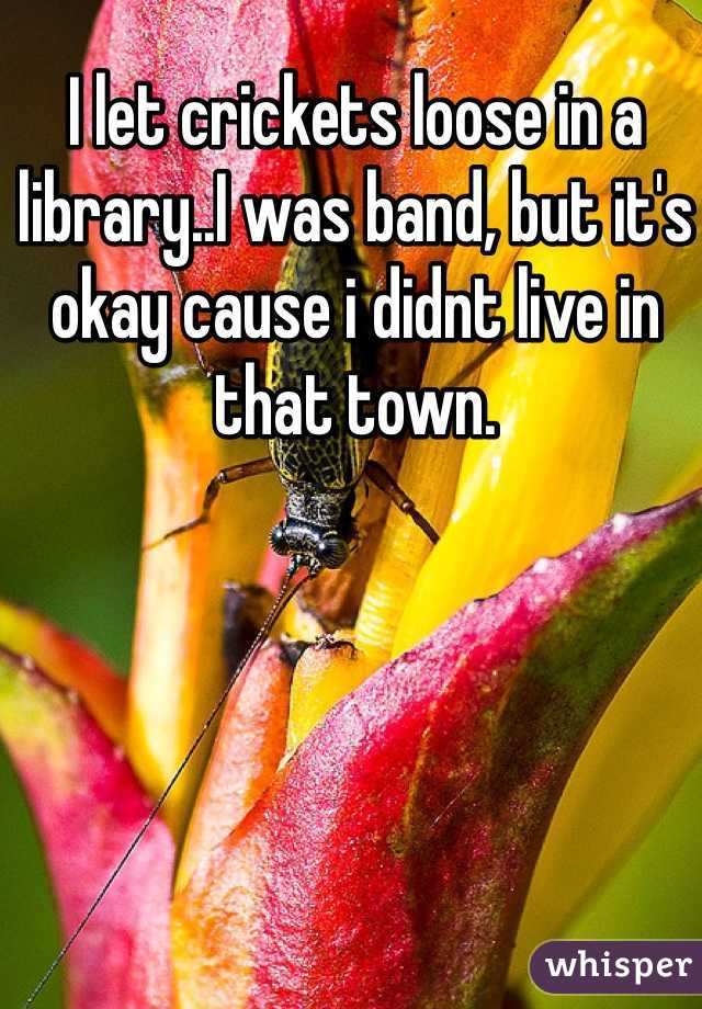 I let crickets loose in a library..I was band, but it's okay cause i didnt live in that town.