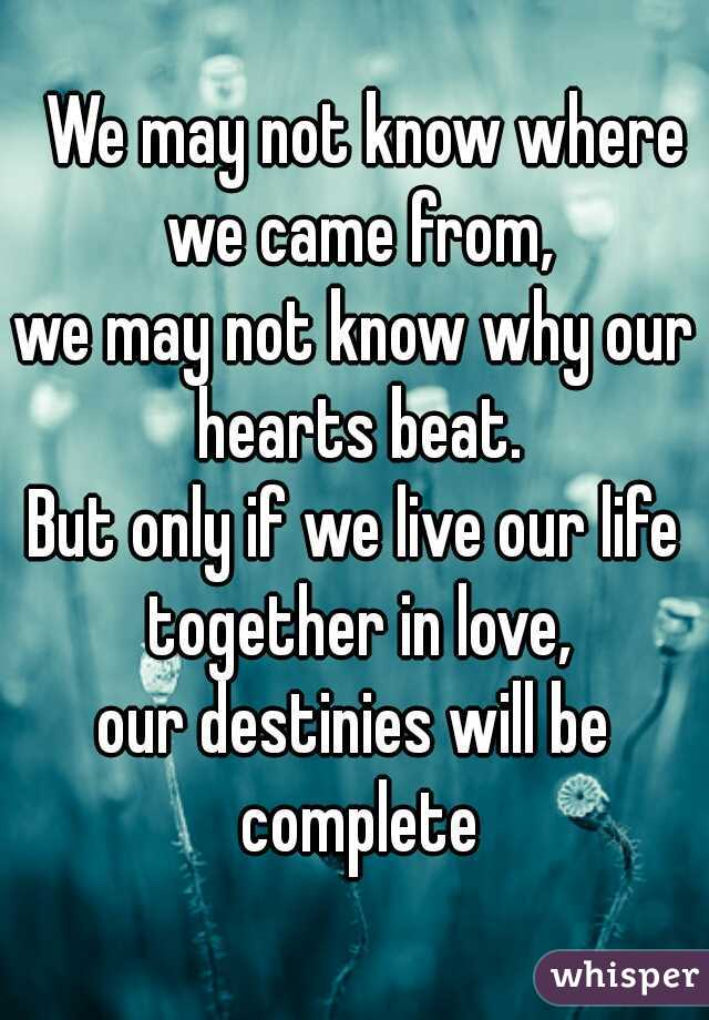 We may not know where we came from, we may not know why our hearts beat. But only if we live our life together in love, our destinies will be complete