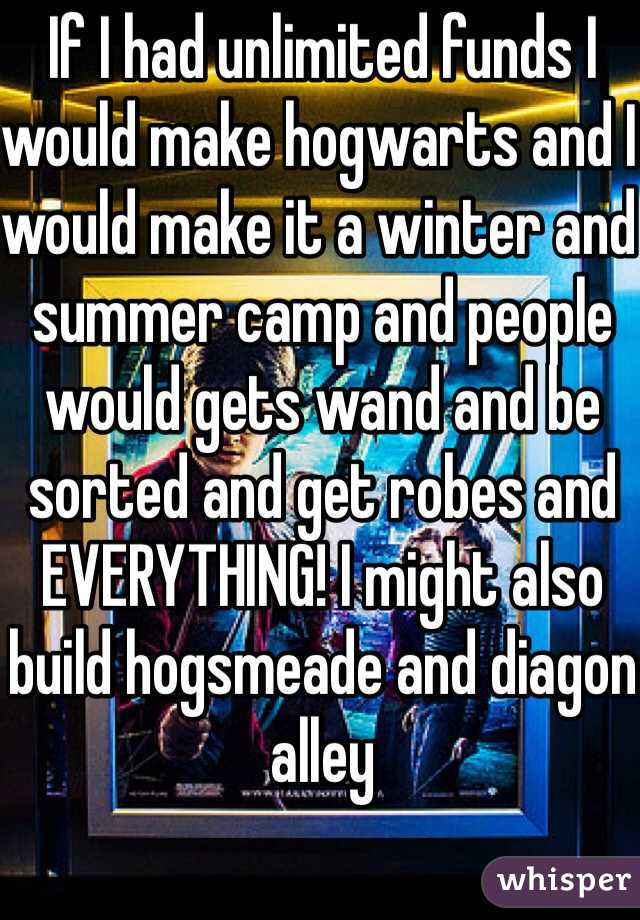 If I had unlimited funds I would make hogwarts and I would make it a winter and summer camp and people would gets wand and be sorted and get robes and EVERYTHING! I might also build hogsmeade and diagon alley