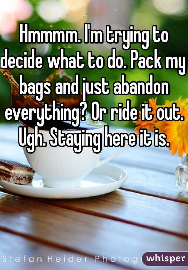 Hmmmm. I'm trying to decide what to do. Pack my bags and just abandon everything? Or ride it out. Ugh. Staying here it is.