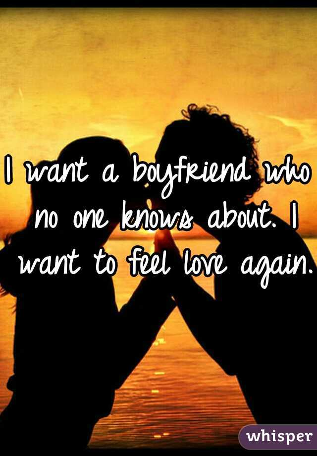I want a boyfriend who no one knows about. I want to feel love again.