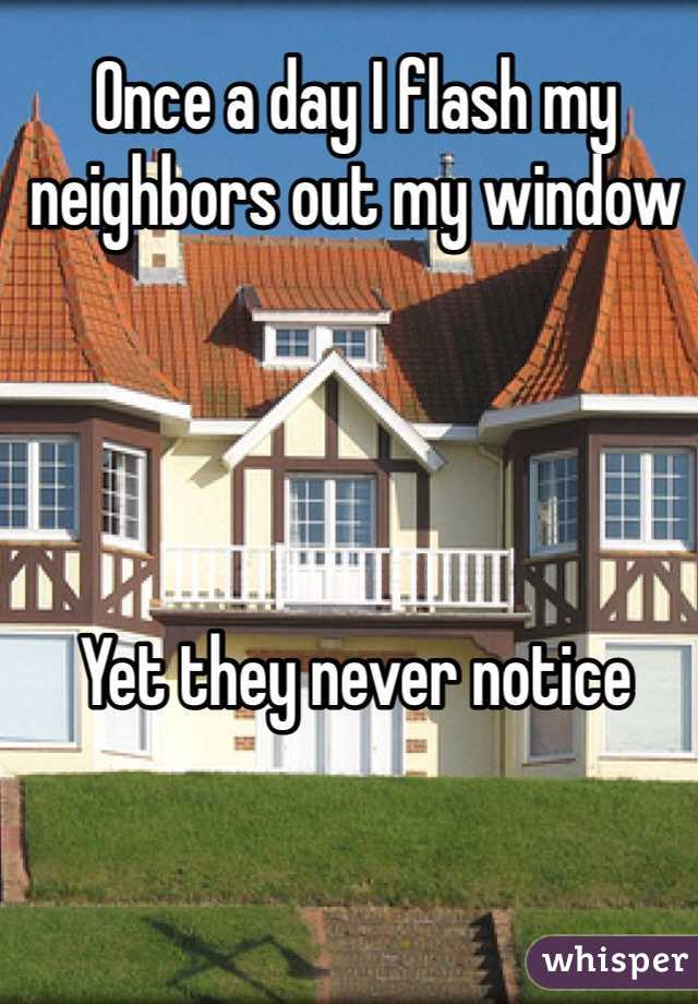 Once a day I flash my neighbors out my window     Yet they never notice