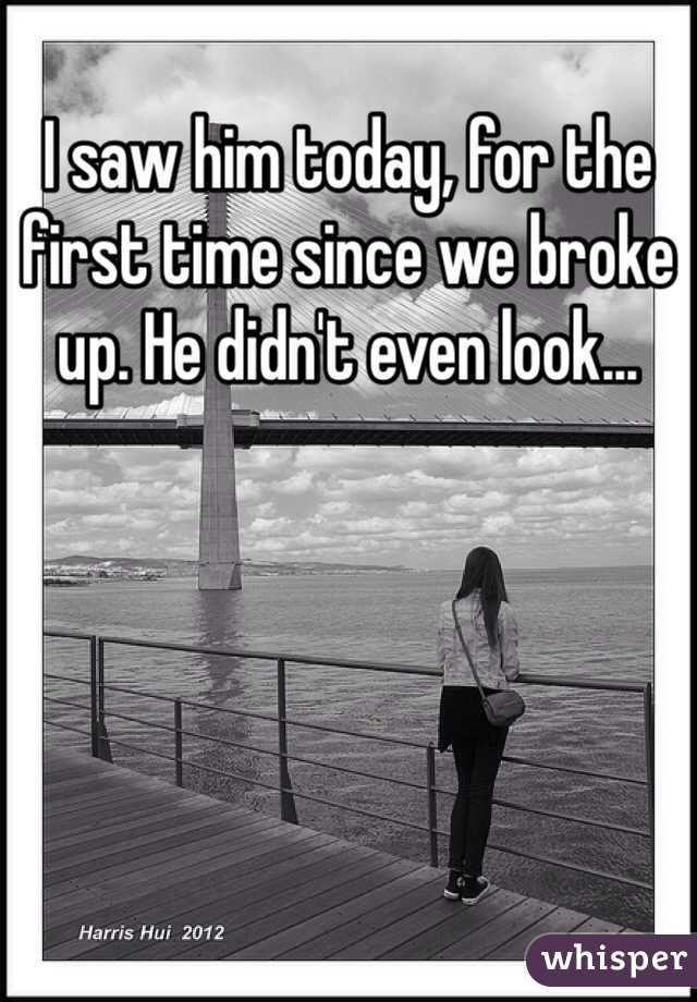 I saw him today, for the first time since we broke up. He didn't even look...