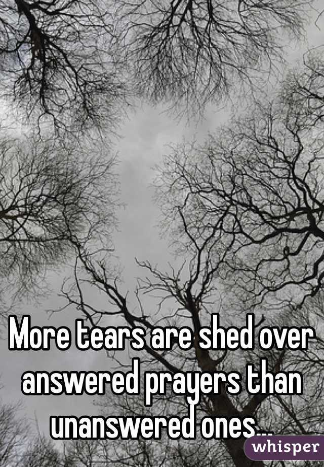 More tears are shed over answered prayers than unanswered ones...