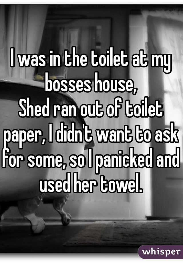 I was in the toilet at my bosses house, Shed ran out of toilet paper, I didn't want to ask for some, so I panicked and used her towel.