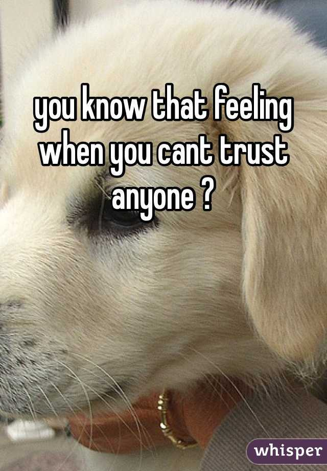 you know that feeling when you cant trust anyone ?