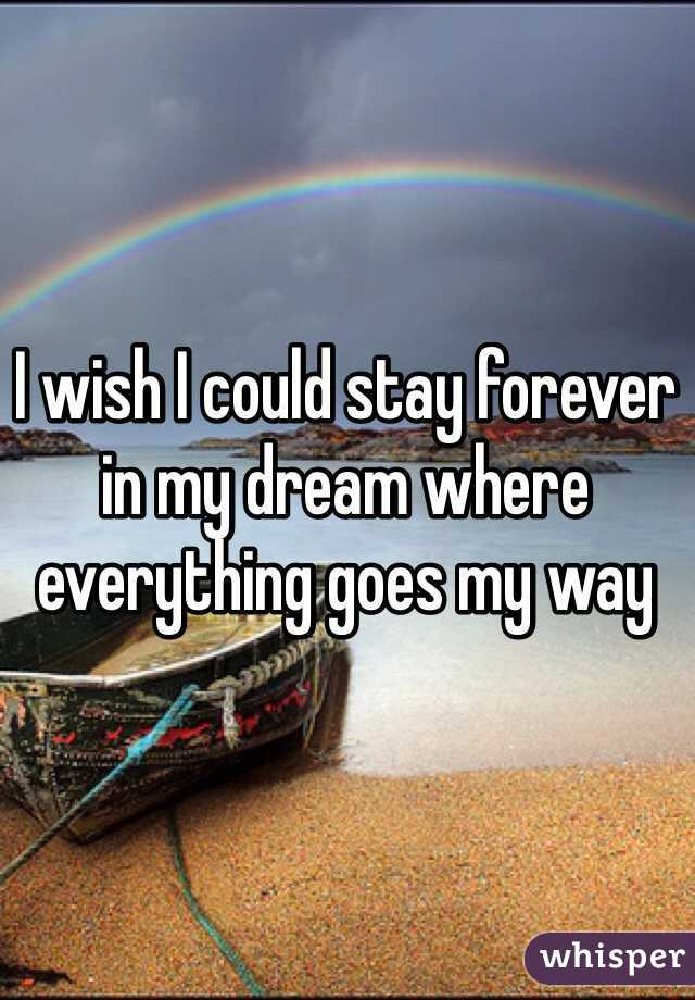 I wish I could stay forever in my dream where everything goes my way