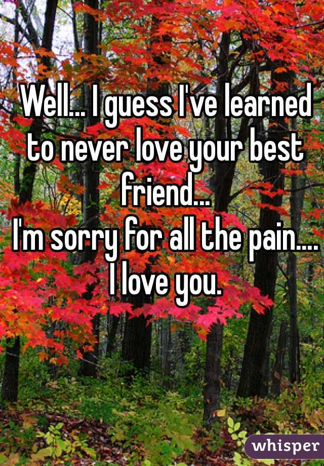 Well... I guess I've learned to never love your best friend...  I'm sorry for all the pain.... I love you.