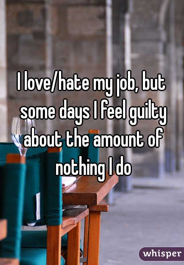 I love/hate my job, but some days I feel guilty about the amount of nothing I do