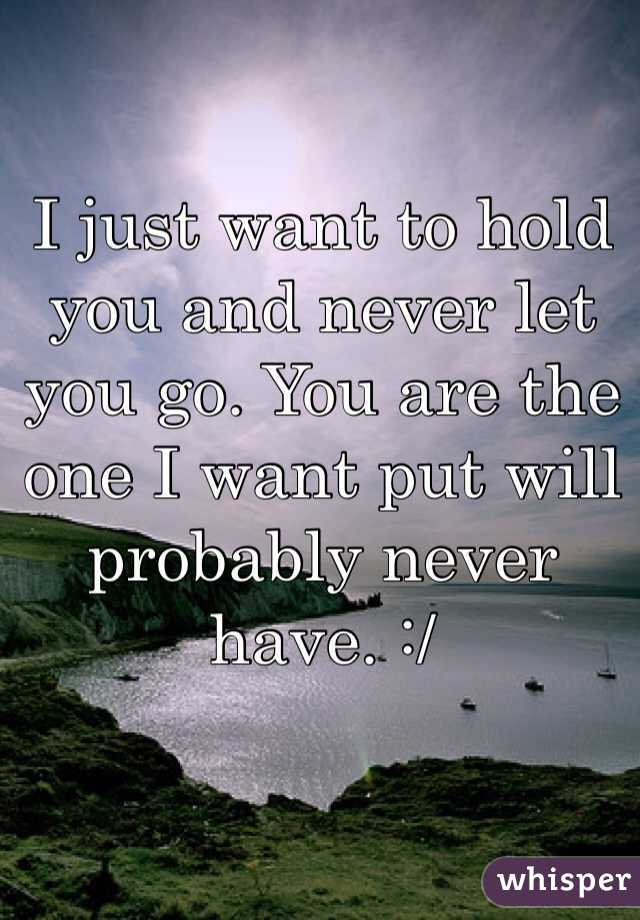 I just want to hold you and never let you go. You are the one I want put will probably never have. :/