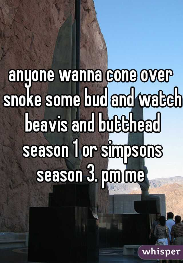 anyone wanna cone over snoke some bud and watch beavis and butthead season 1 or simpsons season 3. pm me