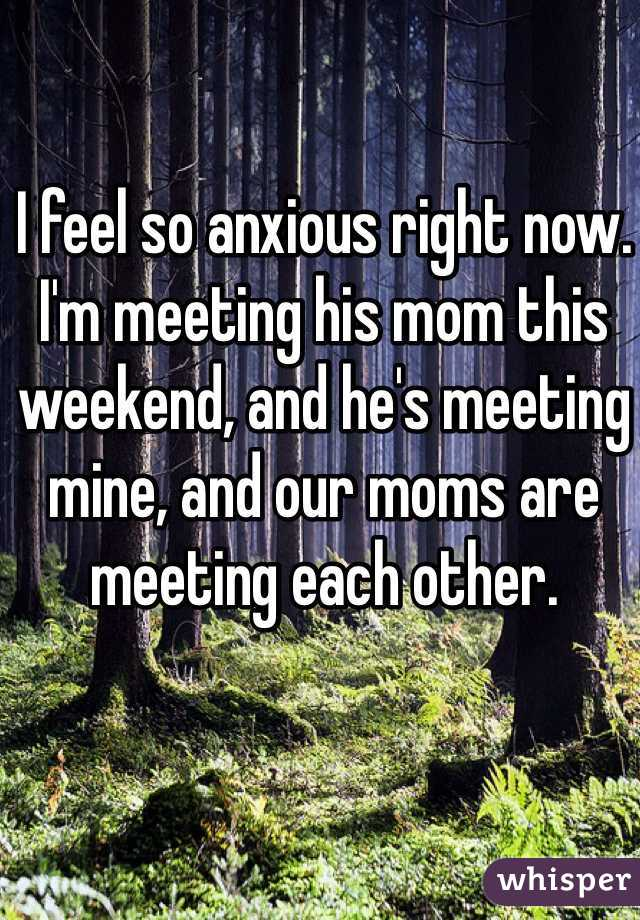 I feel so anxious right now. I'm meeting his mom this weekend, and he's meeting mine, and our moms are meeting each other.