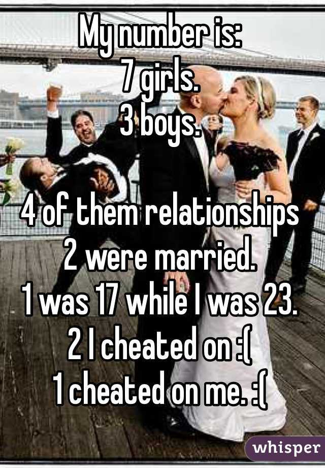 My number is: 7 girls. 3 boys.   4 of them relationships 2 were married. 1 was 17 while I was 23. 2 I cheated on :( 1 cheated on me. :(  I am now 25.
