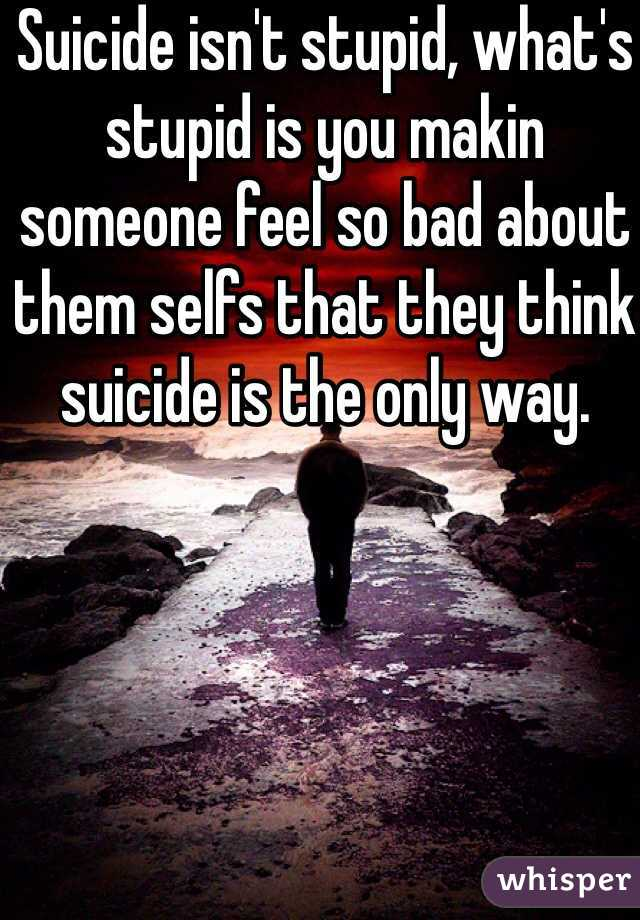 Suicide isn't stupid, what's stupid is you makin someone feel so bad about them selfs that they think suicide is the only way.