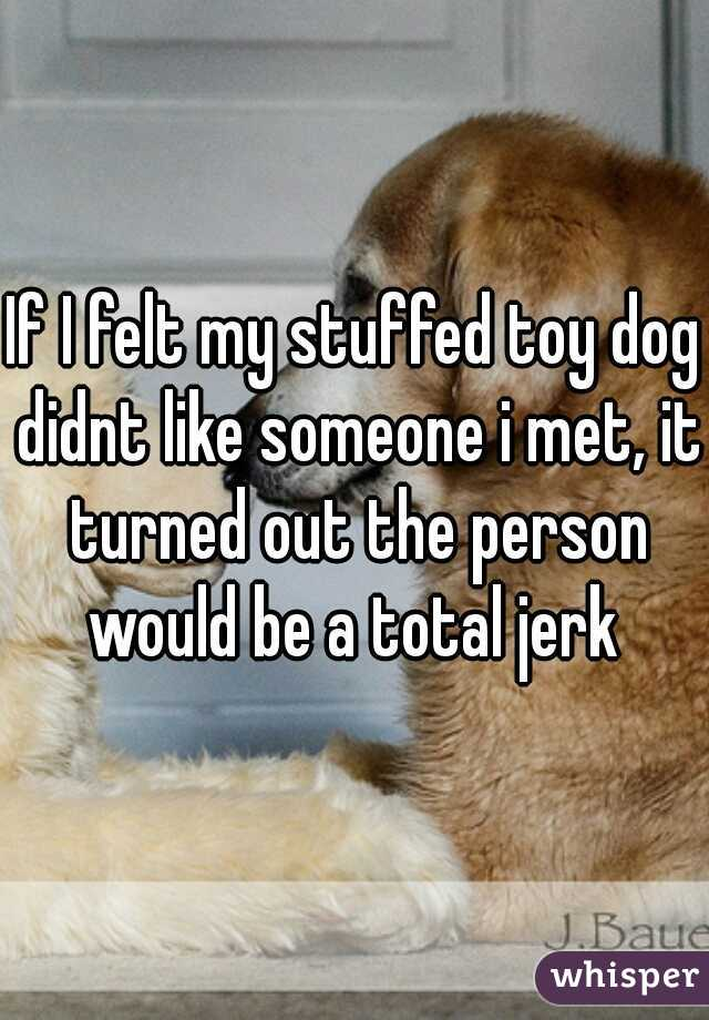 If I felt my stuffed toy dog didnt like someone i met, it turned out the person would be a total jerk