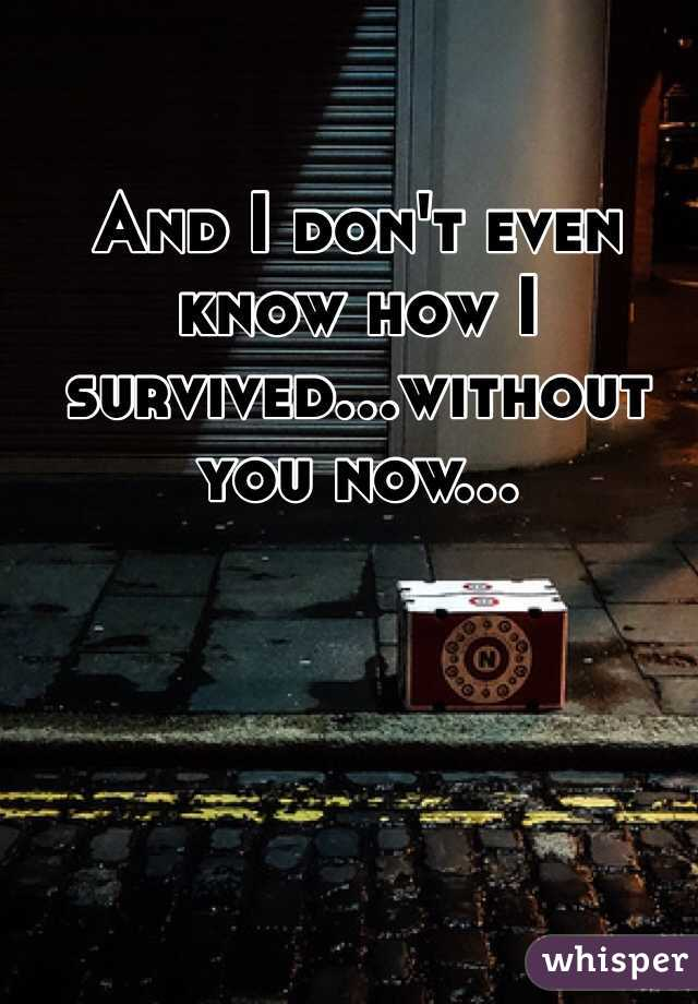 And I don't even know how I survived...without you now...