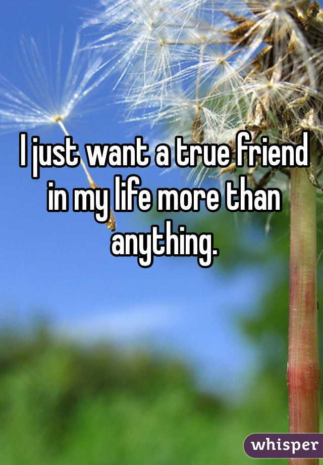 I just want a true friend in my life more than anything.