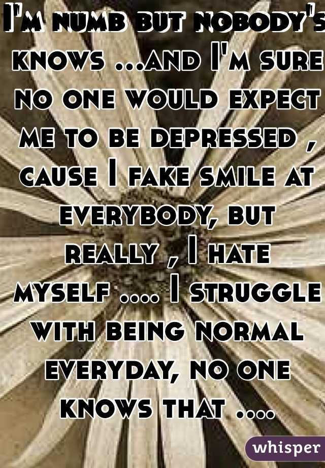 I'm numb but nobody's knows ...and I'm sure no one would expect me to be depressed , cause I fake smile at everybody, but really , I hate myself .... I struggle with being normal everyday, no one knows that ....